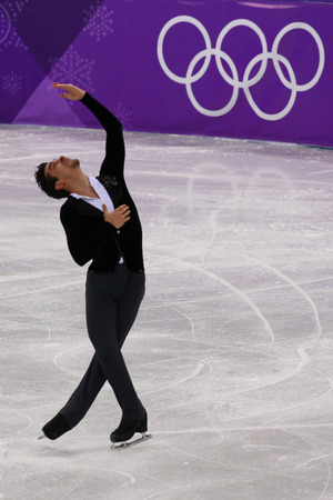 GANGNEUNG, SOUTH KOREA - FEBRUARY 16, 2018: Bronze medalist  Javier Fernandez of Spain performs in the Men Single Skating Short Program at the 2018 Winter Olympic Games at Gangneung Ice Arena