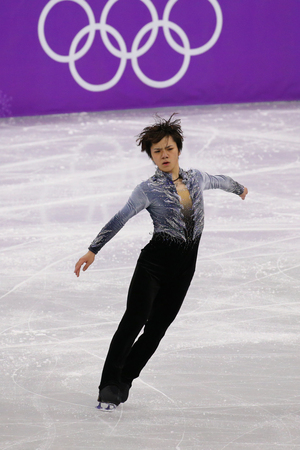 GANGNEUNG, SOUTH KOREA - FEBRUARY 16, 2018: Silver medalist  Shoma Uno of Japan performs in the Men Single Skating Short Program at the 2018 Winter Olympic Games at Gangneung Ice Arena