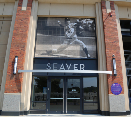 FLUSHING, NEW YORK - SEPTEMBER 5, 2017: Famous Tom Seaver entrance at the Citi Field, home of major league baseball team the New York Mets in Flushing, New York