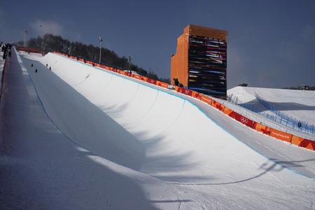 PYEONGCHANG, SOUTH KOREA - FEBRUARY 13, 2018: Snowboard halfpipe at the 2018 Winter Olympics in Phoenix Snow Park, PyeongChang, South Korea