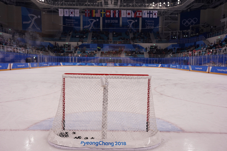 KWANDONG, SOUTH KOREA - FEBRUARY 13, 2018: Inside of the Kwandong Hockey Centre during Womens ice hockey preliminary round game at the 2018 Winter Olympic Games