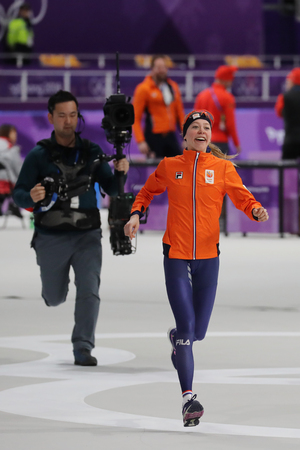 GANGNEUNG, SOUTH KOREA - FEBRUARY 16, 2018: Olympic champion Esmee Visser of Netherlands celebrates victory after the Ladies 5,000m Speed Skating at the 2018 Winter Olympic Games at Gangneung Oval