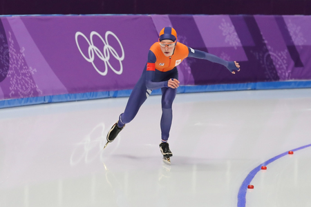 GANGNEUNG, SOUTH KOREA - FEBRUARY 16, 2018: Olympic champion Esmee Visser of Netherlands competes in the Ladies 5,000m Speed Skating at the 2018 Winter Olympic Games at Gangneung Oval Redactioneel