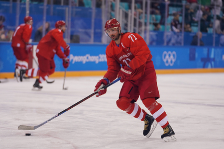 GANGNEUNG, SOUTH KOREA - FEBRUARY 17, 2018: Olympic champion  Ilya Kovalchuk of Team Olympic Athlete from Russia in action against Team USA during  Mens ice hockey preliminary round game