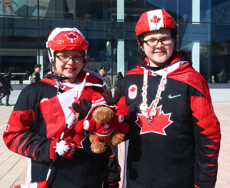GANGNEUNG, SOUTH KOREA - FEBRUARY 17, 2018: Canadian hockey fans in Gangneung Olympic Park during 2018 Winter Olympic Games