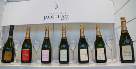NEW YORK - MARCH 6, 2018: French champagne presented at Vinexpo New York in Manhattan. Vinexpo is one of the largest exhibitions for wine and spirits professionals from all over the world