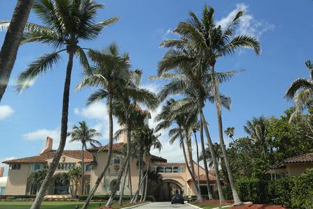 PALM BEACH, FLORIDA - MARCH 21, 2018: Mar-a-Lago resort in Palm Beach, FL. Mar-a-Lago is a resort and National Historic Landmark in Palm Beach, Florida, built from 1924 to 1927