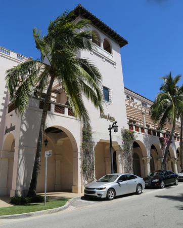 PALM BEACH, FLORIDA  - MARCH 21, 2018: Neiman Marcus department store at the Worth Avenue in Palm Beach, Florida. Worth Avenue is an upscale shopping and dining district in Palm Beach, Florida Editorial