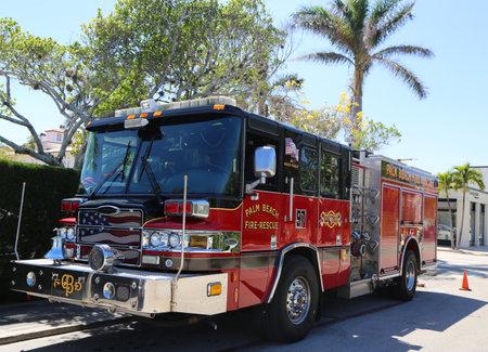 PALM BEACH, FLORIDA  - MARCH 21, 2018: Palm Beach Fire-Rescue engine 97 in Palm Beach, Florida.