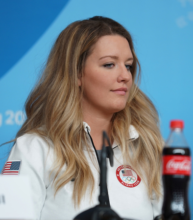 PYEONGCHANG, SOUTH KOREA - FEBRUARY 8, 2018: Snowboarder Rosie Mancari of United States attends a press conference ahead of the Olympic Winter Games PyeongChang 2018 in PyeongChang, South Korea.
