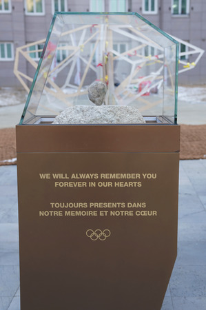 PYEONGCHANG, SOUTH KOREA - FEBRUARY 8, 2018: Remembrance monument in the 2018 Winter Olympic Games Athletes Olympic Village  in PyeongChang, South Korea Redactioneel