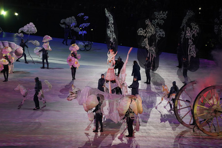 PYEONGCHANG, SOUTH KOREA - FEBRUARY 9, 2018: The 2018 Winter Olympics Opening Ceremony. Olympic Games 2018 officially opened with a colorful ceremony at the Olympics Stadium in PyeongChang