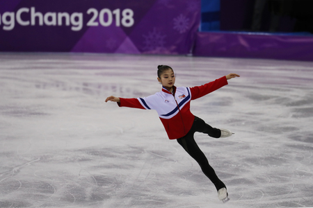 GANGNEUNG, SOUTH KOREA - FEBRUARY 15, 2018: Tae Ok Ryom of North Korea performs in the Pair Skating Free Skating at the 2018 Winter Olympics at Gangneung Ice Arena Editorial