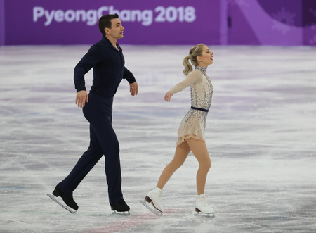 GANGNEUNG, SOUTH KOREA - FEBRUARY 9, 2018: Alexa Scimeca Knierim and Chris Knierim of the United States perform in the Team Event Pair Skating Short Program at the 2018 Winter Olympic Games Editorial