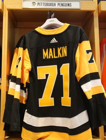 7a4c0549d NEW YORK - APRIL 26, 2018: Evgeni Malkins Pittsburgh Penguins Adidas jersey  on display