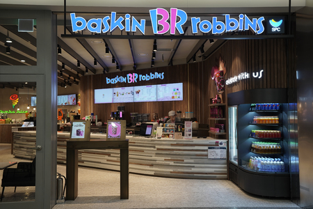SEOUL, SOUTH KOREA - FEBRUARY 8, 2018: Baskin Robbins Ice Cream at Terminal 2 in Incheon International Airport in Seoul. Baskin-Robbins is the worlds largest chain of ice cream specialty shops