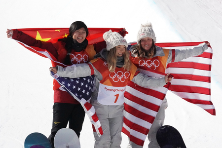 PYEONGCHANG, SOUTH KOREA - FEBRUARY 13, 2018: Jiayu Liu CHN (L), Chloe Kim USA and Arielle Gold USA during venue ceremony after women`s snowboard halfpipe final at the 2018 Winter Olympics