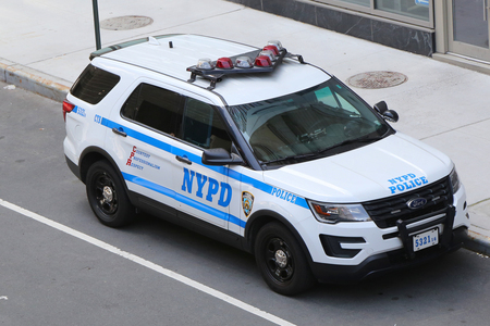 NEW YORK - MAY 3, 2018: NYPD car provides security in Lower Manhattan