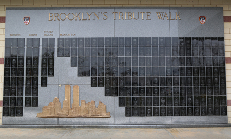 BROOKLYN, NEW YORK - MAY 5, 2018: FDNY fallen firefighters memorial in Brooklyn, New York. 343 firefighters were killed when World Trade Center buildings collapsed on September 11, 2001 Editorial