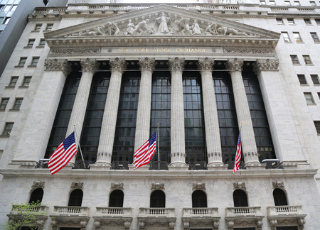 NEW YORK - MAY 10, 2018: The New York Stock Exchange in Manhattan. It is by far the worlds largest stock exchange by market capitalization of its listed companies at US$16.613 trillion as of May 2013