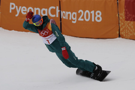 PYEONGCHANG, SOUTH KOREA  FEBRUARY 14, 2018: Bronze medalist Scotty James of Australia competes in the mens snowboard halfpipe final at the 2018 Winter Olympics in PyeongChang, South Korea