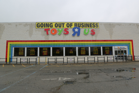 BROOKLYN, NEW YORK - MAY 18, 2018: Going out of business sign on Toys R Us store in Brooklyn, New York. Toys R Us closing up to 182 stores as part of its Chapter 11 bankruptcy