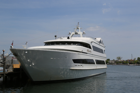 BROOKLYN, NEW YORK - MAY 20, 2018: Luxury Atlantis Yacht Charter at Sheepshead Bay Marina in Brooklyn