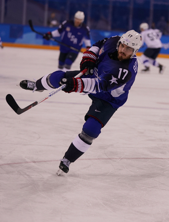 KWANDONG, SOUTH KOREA - FEBRUARY 14, 2018: Forward Chris Bourque of Team United States in action against Team Slovenia in the mens ice hockey preliminary round game at 2018 Winter Olympic Games