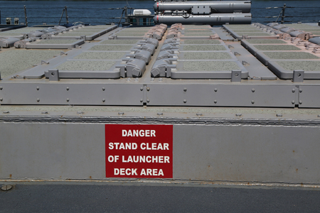 NEW YORK - MAY 24, 2018: Vertical Launching System for Tomahawk missiles on the guided missile destroyer USS Mitscher during Fleet Week 2018 in New York
