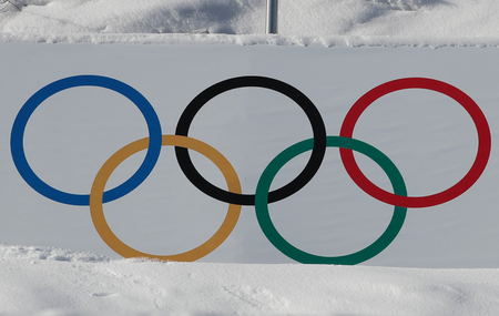 PYEONGCHANG, SOUTH KOREA - FEBRUARY 13, 2018: Olympic rings at the 2018 Winter Olympics in Phoenix Snow Park in PyeongChang, South Korea