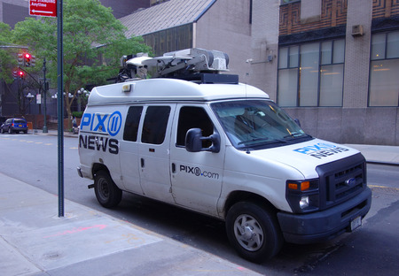 NEW YORK - JUNE 5, 2018: PIX 11 News van in Midtown Manhattan. WPIX channel 11, is a CW-affiliated television station located in New York City
