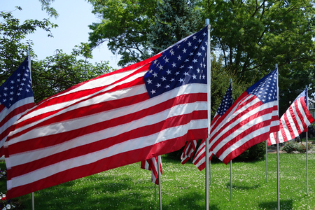 The American Flags in the wind Stock Photo