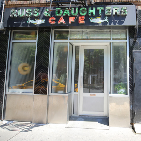 NEW YORK - JUNE 21, 2018: Famous Russ & Daughters cafe in Lower East Side in Manhattan