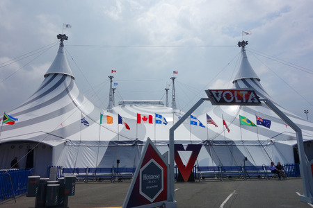 UNIONDALE, NY - JUNE 24, 2018: Cirque du Soleil circus tent at The Nassau Veterans Memorial Coliseum in New York. It is a Canadian entertainment company, a mix of circus and street entertainment