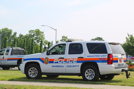 UNIONDALE, NEW YORK - JUNE 24, 2018:  Nassau County Police Department Mounted Unit car in Uniondale. The Nassau County Police Department is the law enforcement agency of Nassau County, New York