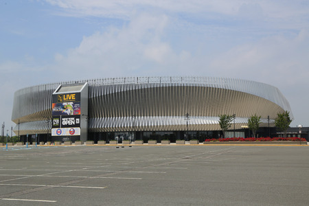 UNIONDALE, NEW YORK - JUNE 24, 2018: The newly renovated Nassau Veterans Memorial Coliseum in Uniondale, NY. It is a multi-purpose indoor arena on Long Island Stock Photo - 104254578