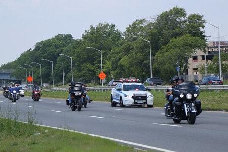 BROOKLYN,NEW YORK - JUNE 24, 2018: NYPD Highway Patrol escorts bikers at Belt Parkway in Brooklyn