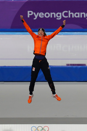 GANGNEUNG, SOUTH KOREA - FEBRUARY 16, 2018: Olympic champion Esmee Visser of Netherlands celebrates victory in the Ladies 5,000m Speed Skating at the 2018 Winter Olympic Games at Gangneung Oval