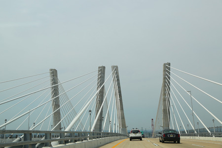 STATEN ISLAND, NEW YORK - JULY 1, 2018: Traveling west over the newly constructed Goethals Bridge toward New Jersey. Editorial