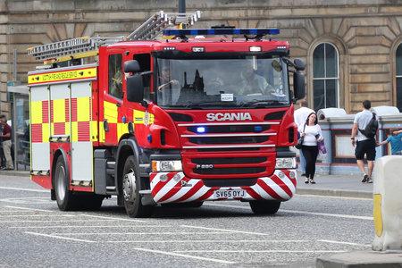 EDINBURGH, SCOTLAND - JULY 4, 2018: Scottish Fire and Rescue Service truck in Edinburgh.