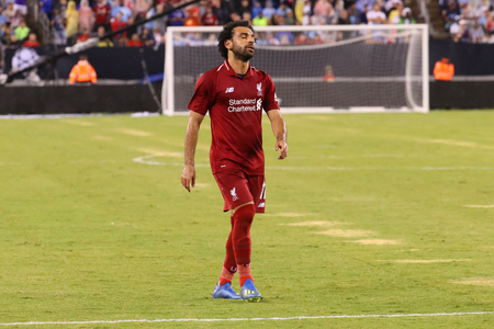 EAST RUTHERFORD, NJ - JULY 25, 2018: Mohammed Salah #11 of Liverpool FC in action against Manchester City during 2018 International Champions Cup game at MetLife stadium