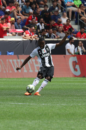 HARRISON, NJ - JULY 28, 2018: Leandro Fernandes of Juventus in action against Benfica in the 2018 International Champions Cup game at Red Bull Stadium Redactioneel