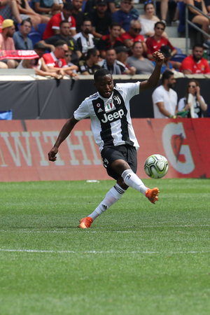 HARRISON, NJ - JULY 28, 2018: Leandro Fernandes of Juventus in action against Benfica in the 2018 International Champions Cup game at Red Bull Stadium Editoriali