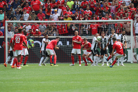 HARRISON, NJ - JULY 28, 2018: Alex Grimaldo #3 scores a goal for Benfica against Juventus in the 2018 International Champions Cup game at Red Bull Stadium