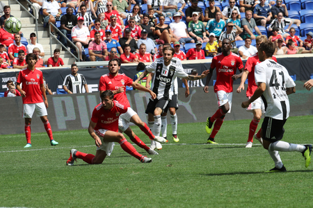 HARRISON, NJ - JULY 28, 2018: Luca Clemenza scores a goal for Juventus against Benfica in the 2018 International Champions Cup game at Red Bull Stadium Redactioneel