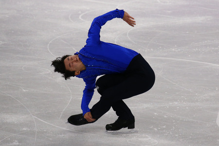 GANGNEUNG, SOUTH KOREA - FEBRUARY 16, 2018: Denis Ten of Kazakhstan performs in Men Single Skating Short Program at the 2018 Winter Olympic Games. In July 2018, Ten was murdered in a carjacking attempt