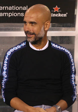 EAST RUTHERFORD, NJ - JULY 25, 2018: Pep Guardiola manager of Manchester City during 2018 International Champions Cup game Manchester City vs Liverpool at MetLife stadium Redakční