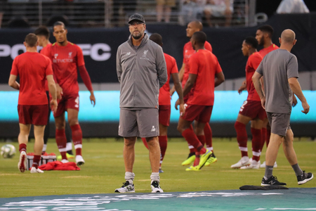 EAST RUTHERFORD, NJ - JULY 25, 2018:  Liverpool FC manager Jurgen Klopp before match against Manchester City during 2018 International Champions Cup game at MetLife stadium Editorial