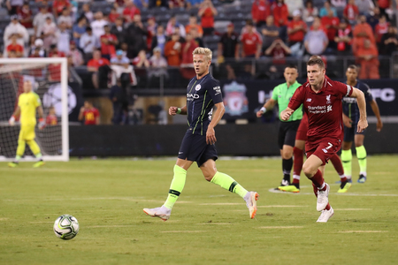 EAST RUTHERFORD, NJ - JULY 25, 2018: Oleksandr Zinchenko of Manchester City in action against Liverpool FC during 2018 International Champions Cup game at MetLife stadium