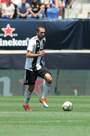 HARRISON, NJ - JULY 28, 2018: Juventus defender and captain Giorgio Chielliniin action in against Benfica during 2018 International Champions Cup tournament soccer match at Red Bull Stadium Redactioneel